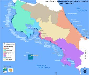 Insgesamt 107 Strände in Costa Rica wurden mit der Bandera Azul Ecológica (Blaue Ökologische Flagge) ausgezeichnet