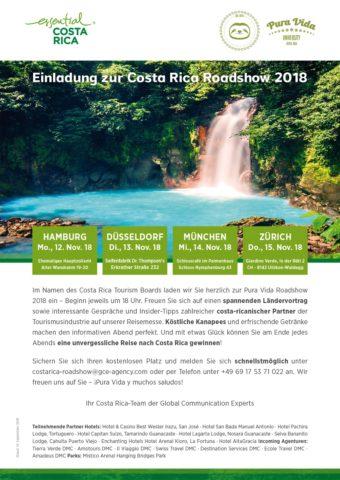 Einladung zur Costa Rica Roadshow 2018